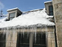 home with icy roof
